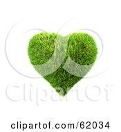 3d Grassy Green Heart