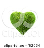 Royalty Free RF Clipart Illustration Of A 3d Grassy Green Heart by chrisroll