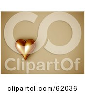 Royalty Free RF Clipart Illustration Of A 3d Golden Heart On A Beige Background With Copyspace by chrisroll