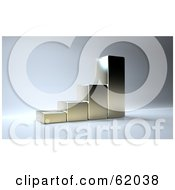 Royalty Free RF Clipart Illustration Of A 3d Shiny Silver Bar Graph On Gray by chrisroll