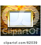 Royalty Free RF Clipart Illustration Of A Blank Gold Frame Mounted On A Crinkled Wall by chrisroll