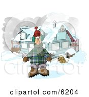 Man In Winter Clothes Standing By A House With A Dog And Hot Chocolate Stand