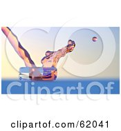 Royalty Free RF Clipart Illustration Of Transparent Liquid Pouring And Bouncing Off Of Glass