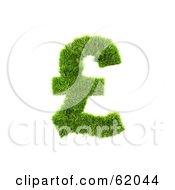 3d Grassy Green Pound Symbol