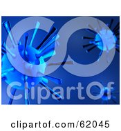 Royalty Free RF Clipart Illustration Of A Blue Background Of 3d Viruses