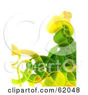 Royalty Free RF Clipart Illustration Of A Curly 3d Network Wave In Green And Yellow