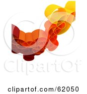 Royalty Free RF Clipart Illustration Of A Curly 3d Network Wave In Red And Orange Version 1