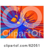 Royalty Free RF Clipart Illustration Of A Futuristic 3d Background Of Orange And Blue Urban Buildings by chrisroll