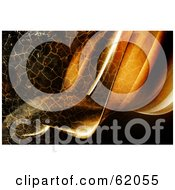 Royalty Free RF Clipart Illustration Of A Background Of Flowing Waves With A Crackled Brown Texture