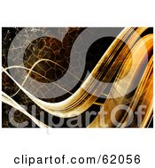 Royalty Free RF Clipart Illustration Of A Background Of Horizontal Flowing Waves With A Crackled Brown Texture