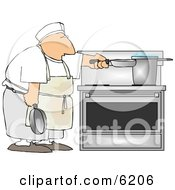 Short Order Cook Heating Food On A Stove Clipart Picture
