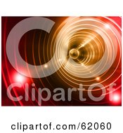 Royalty Free RF Clipart Illustration Of The Interior Of A Spiraling Red Vortex Tunnel With Bright Orbs Of Light by chrisroll