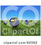 Royalty Free RF Clipart Illustration Of A 3d Grassy Meadow With Floating Globes Under A Blue Sky by chrisroll