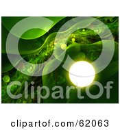 Green Futuristic Background With Transparent Plasma And Glowing Orbs