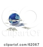Royalty Free RF Clipart Illustration Of A 3d Blue Globe ATM Spitting Out Cash by chrisroll