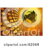 Royalty Free RF Clipart Illustration Of A Grungy Textured Globe In A Rusty Halftone Tunnel by chrisroll