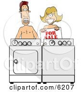 Poor Married Couple Selling Their Matching WasherAmpDryer Clipart Picture by Dennis Cox