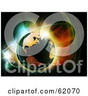 Royalty Free RF Clipart Illustration Of A Fractal Explosion Around Planet Earth