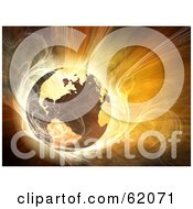 Royalty Free RF Clipart Illustration Of A Hot 3d Globe Surrounded By Bright Fractal Light by chrisroll