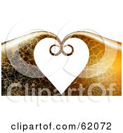 Royalty Free RF Clipart Illustration Of A Background Of Crackled Waves Curling Together And Forming A Heart by chrisroll