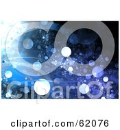 Royalty Free RF Clipart Illustration Of A Blue Background Of Waves And Grungy Glowing Bubbles by chrisroll
