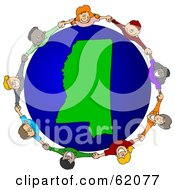 Royalty Free RF Clipart Illustration Of A Circle Of Children Holding Hands Around A Mississippi Globe