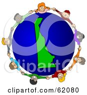 Royalty Free RF Clipart Illustration Of A Circle Of Children Holding Hands Around A Delaware Globe by djart