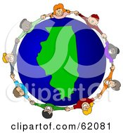 Royalty Free RF Clipart Illustration Of A Circle Of Children Holding Hands Around An Illinois Globe