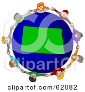 Royalty Free RF Clipart Illustration Of A Circle Of Children Holding Hands Around A North Dakota Globe