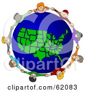 Royalty Free RF Clipart Illustration Of A Circle Of Children Holding Hands Around A United States Of America Globe