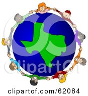 Royalty Free RF Clipart Illustration Of A Circle Of Children Holding Hands Around A Texas Globe