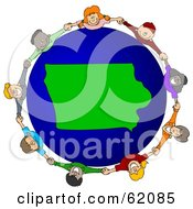 Royalty Free RF Clipart Illustration Of A Circle Of Children Holding Hands Around An Iowa Globe