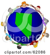 Royalty Free RF Clipart Illustration Of A Circle Of Children Holding Hands Around A Nevada Globe by djart