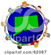 Royalty Free RF Clipart Illustration Of A Circle Of Children Holding Hands Around A Connecticut Globe
