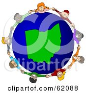 Royalty Free RF Clipart Illustration Of A Circle Of Children Holding Hands Around An Ohio Globe