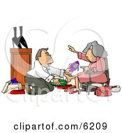 Shoe Salesman Helping An Elderly Woman Pick Out A New Pair Of Shoes Clipart Picture
