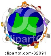 Royalty Free RF Clipart Illustration Of A Circle Of Children Holding Hands Around An Oregon Globe by djart
