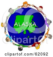 Royalty Free RF Clipart Illustration Of Children Holding Hands In A Circle Around An Alaska Globe