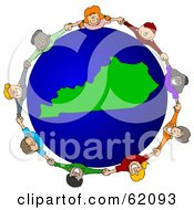 Royalty Free RF Clipart Illustration Of A Circle Of Children Holding Hands Around A Kentucky Globe