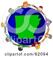 Royalty Free RF Clipart Illustration Of A Circle Of Children Holding Hands Around An Arkansas Globe by djart
