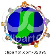 Royalty Free RF Clipart Illustration Of A Circle Of Children Holding Hands Around An Indiana Globe by djart