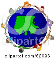 Royalty Free RF Clipart Illustration Of A Circle Of Children Holding Hands Around An Alaska Globe