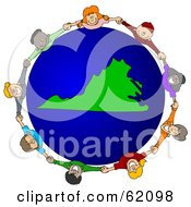 Royalty Free RF Clipart Illustration Of A Circle Of Children Holding Hands Around A Virginia Globe by djart