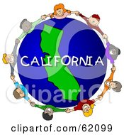Royalty Free RF Clipart Illustration Of Children Holding Hands In A Circle Around A California Globe