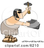 Prehistoric Elvis Lookalike Caveman Shaping A Rock With A Hammer Tool Clipart Picture