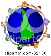 Royalty Free RF Clipart Illustration Of A Circle Of Children Holding Hands Around A New Hampshire Globe by djart