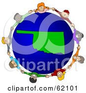 Royalty Free RF Clipart Illustration Of A Circle Of Children Holding Hands Around An Oklahoma Globe by djart