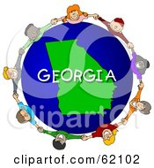 Royalty Free RF Clipart Illustration Of Children Holding Hands In A Circle Around A Georgia Globe