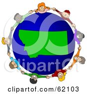 Royalty Free RF Clipart Illustration Of A Circle Of Children Holding Hands Around A Montana Globe
