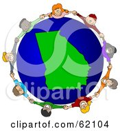 Royalty Free RF Clipart Illustration Of A Circle Of Children Holding Hands Around A Georgia Globe